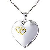 """Sterling Silver Locket Pendant with Chain Message - """"Together Forever"""""""