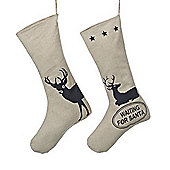 Set of Two Natural Linen Christmas Stockings with Stag Designs