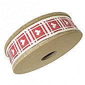Ribbon Reel - Cream Hearts on Red Gingham