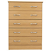 Tenby 5 Drawer Chest, Oak Effect