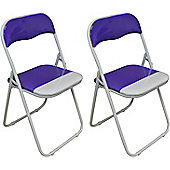 Harbour Housewares Purple / White Padded, Folding, Desk Chair - Pack of 2