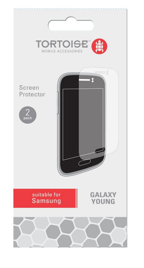 Tortoise™ Screen Protector, 2 Pack, Samsung Galaxy Young. Clear