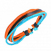 Urban Male Surfer Style Brown Leather with Orange & Blue Cord Strands Bracelet