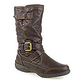 Pavers Calf Boot with Buckle Strap - Brown