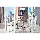 Channel Glass and Polished Stainless Steel 160 cm Dining Table with 4 Ivory Elsa Chairs