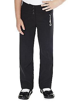 F&F School Girls Fob School Trousers - Black
