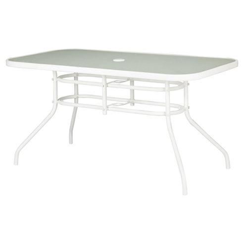 Seville Rectangular Glass & Steel Garden Table, White