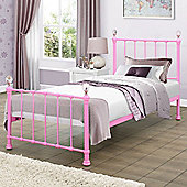 Happy Beds Jessica 3ft Single Size Pink Finished With Crystal Finials Metal Bed With Luxury Spring Mattress