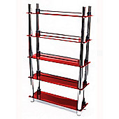 Techstyle 5 Tier DVD Blu-ray / CD / Media Storage Shelves - Red