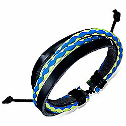 Urban Male Black Leather with Plaited Blue & Yellow Strand Surfer Style Bracelet For Men