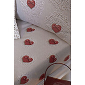 Catherine Lansfield Home Cosy Corner Multi Coloured Doily Hearts Single Fitted Sheet