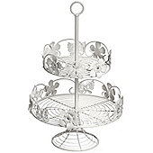 Ornate - 2 Tier Metal Cake / Afternoon Tea Stand - White