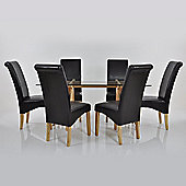 Atlantico Long Glass Dining Table Set with 6 Black Chelsea Chairs