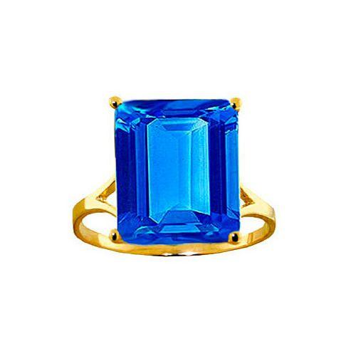 QP Jewellers 7.0ct Blue Topaz Auroral Ring in 14K Gold - Size U