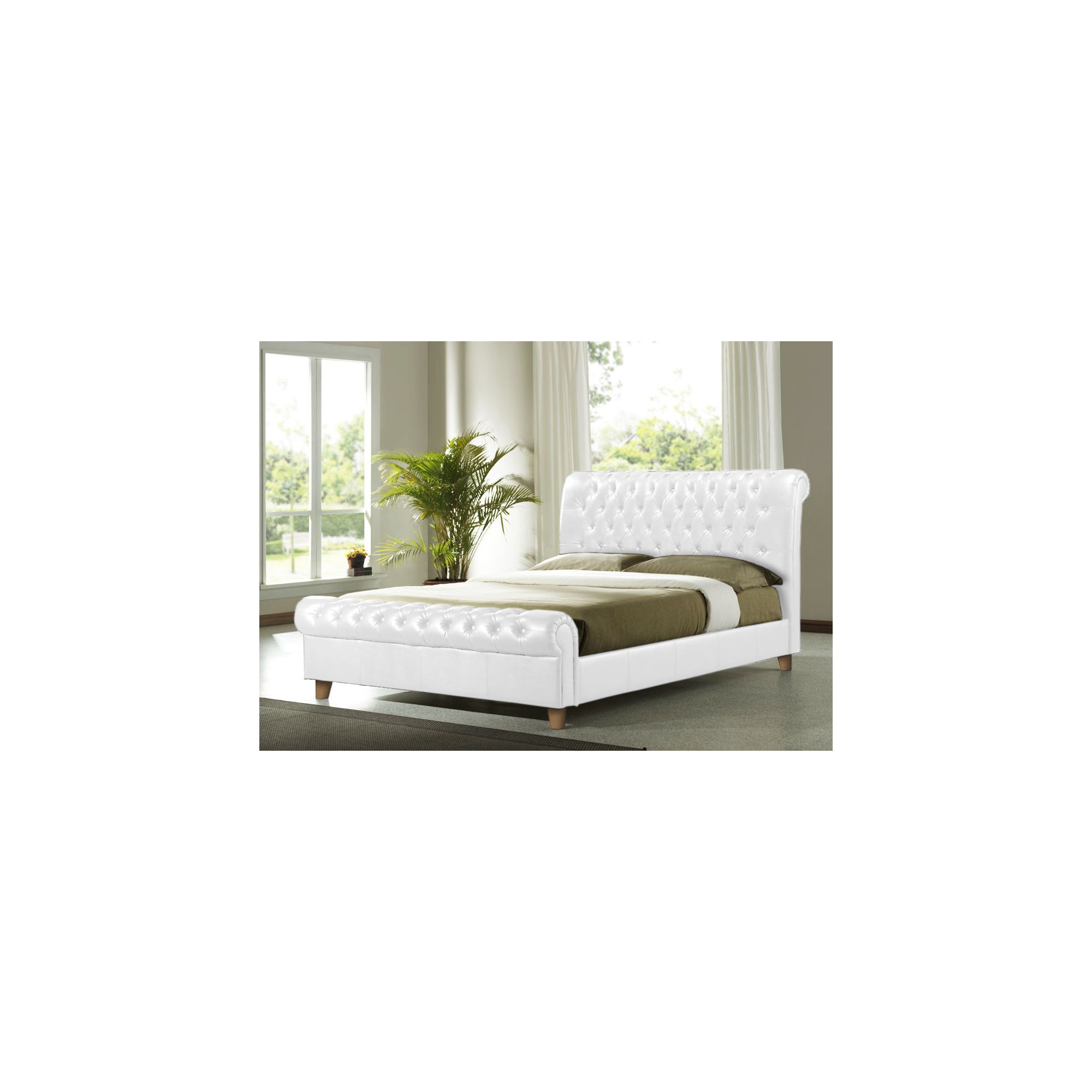 Altruna Richmond Faux Leather Bed Frame - Double - White at Tescos Direct