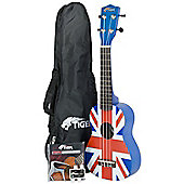 Tiger Union Jack Design Ukulele & Accessory Pack