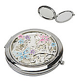 Pink and Blue Butterfly Compact Mirror