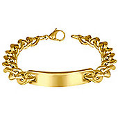 Urban Male Solid Gold Plated Stainless Steel Curb Link Chain ID Bracelet