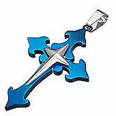 Urban Male Electric Blue & Silver Coloured Cross Pendant In Stainless Steel