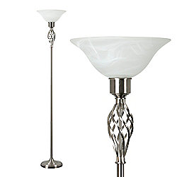 Memphis Twist Floor Lamp in Brushed Chrome with Frosted Alabaster Shade