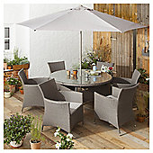 Rattan Garden Dining Set, Grey, 8 piece