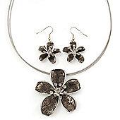 Grey Enamel Diamante 'Flower' Wire Necklace & Drop Earrings Set In Silver Plating - 38cm Length/ 5cm Extension