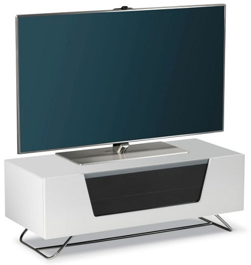 alphason chromium white tv stand for up to 50 inch tvs. Black Bedroom Furniture Sets. Home Design Ideas