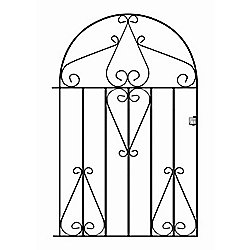 Wrought Iron Style Metal Scroll Low Bow Top Garden Gate 84cm GAP x 118cm HIGH