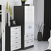Alto Furniture Mode Piano Combi Two Drawer Wardrobe with Mirror in White