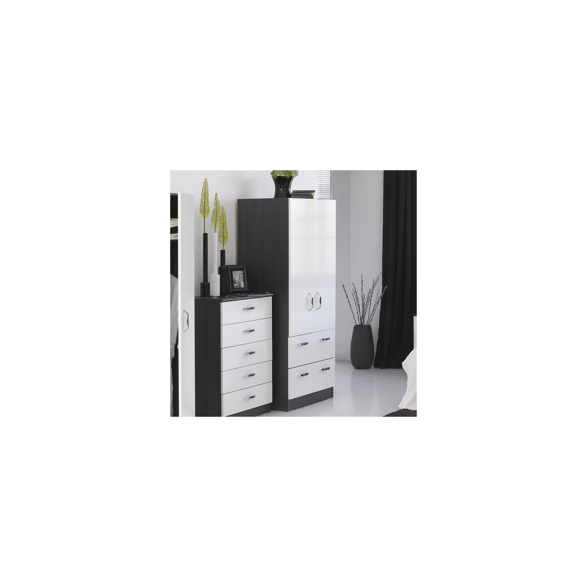 Alto Furniture Mode Piano Combi Two Drawer Wardrobe with Mirror in White at Tesco Direct