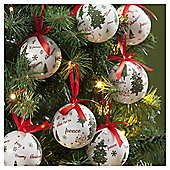 Decoupage Traditional Text Christmas Baubles, 14 pack