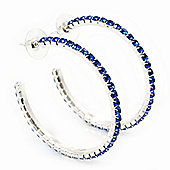 Sapphire Blue Crystal Hoop Earrings In Rhodium Plating - 5cm Diameter