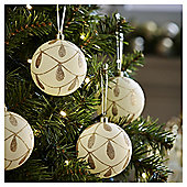 Cream and Gold Glitter Christmas Baubles, 4 pack