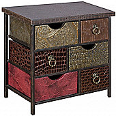 Morocco - Mini Chest Of 6 Drawers - Brown / Gold / Pink