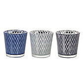 Parlane Set of Three Glass 'Chevron' Detail Tealight Holders - 7.5cm