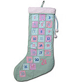 Large Stocking Christmas Advent Calendar In Coloured Fabric