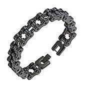 Urban Male Black Plated Stainless Steel Bike Chain Bracelet