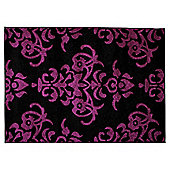 Tesco Damask Rug 160X230Cm Black/Plum