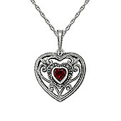 Gemondo Sterling Silver 0.26ct Garnet & Marcasite Heart Pendant on Chain