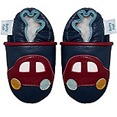 Dotty Fish Soft Leather Baby Shoe - Navy and Red Car - Navy