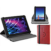 Navitech - Red Faux Leather Case Cover With 360 Rotational Stand For The Acer iconia One 10 B3 A30 and B3 A20 10-inch Tablet