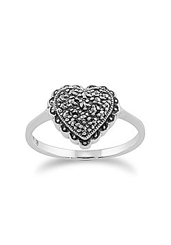 Gemondo Sterling Silver Sparkling Marcasite Set Heart Ring