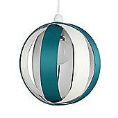 J90 Globe Ceiling Pendant Light Shade in Teal & Cream