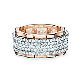 REAL Effect Rose Gold Plated Sterling Silver White Cubic Zirconia Full Eternity Ring