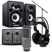 M-Audio Vocal Studio Pro, Alesis Elevate 5 Powered Monitors Speakers And Mic Boom Stand Package