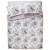 Tesco Watercolour Floral Duvet Cover And Pillowcase Set , - Pink