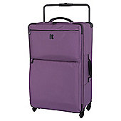 IT Luggage World's Lightest 4-Wheel Purple Check Large Suitcase