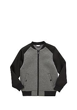 F&F Contrast Sleeve Bomber Jacket - Grey & Black