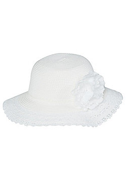 F&F Crochet Brim Straw Hat - White