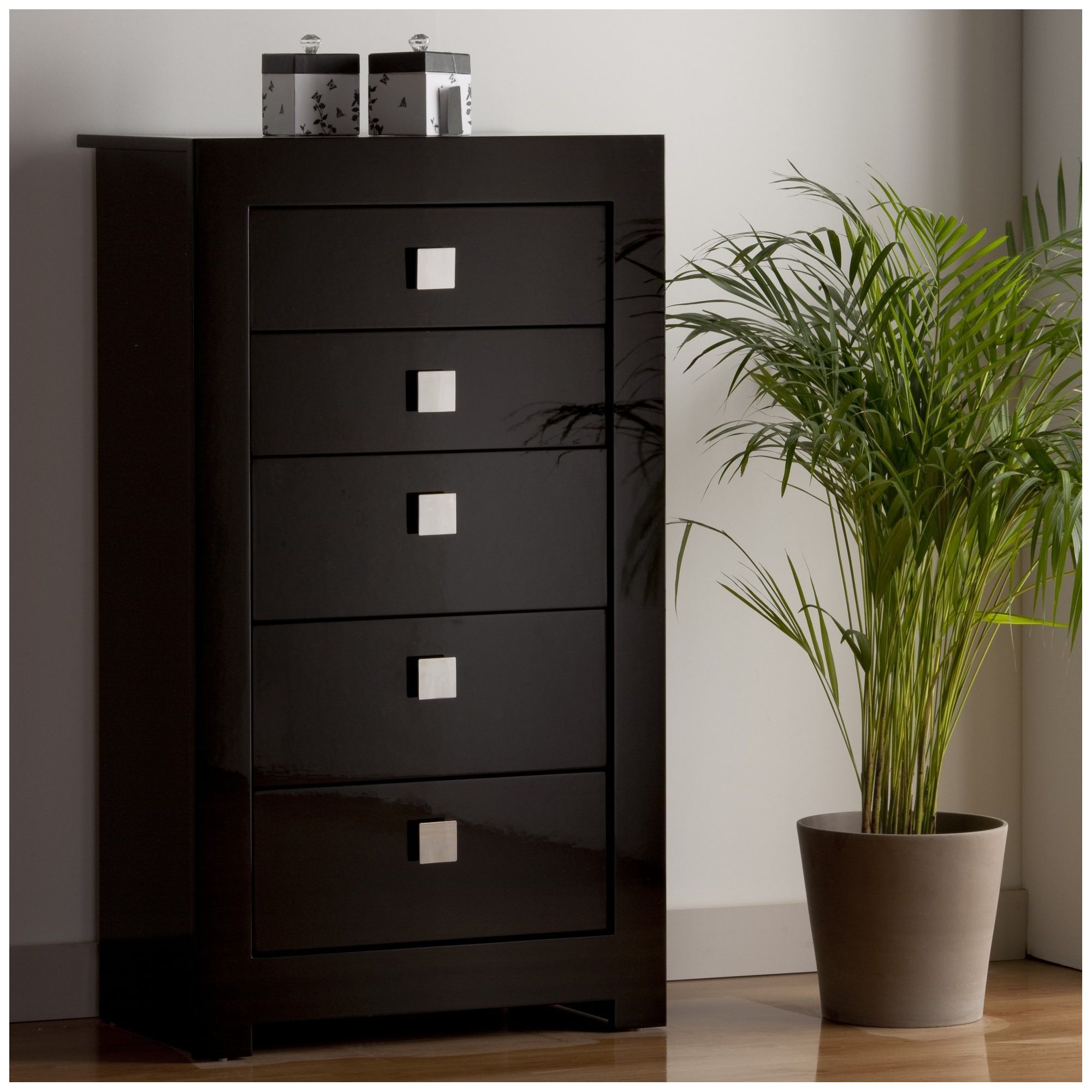World Furniture Modena Five Drawer Tall Chest of Drawers in Black at Tescos Direct